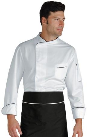 Giacca cuoco bilbao mezza manica bianco//nero Isacco M